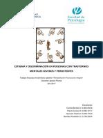 Estigma y Discriminación en Personas Con Trastornos Mentales Severos y Persistentes - Para Combinar