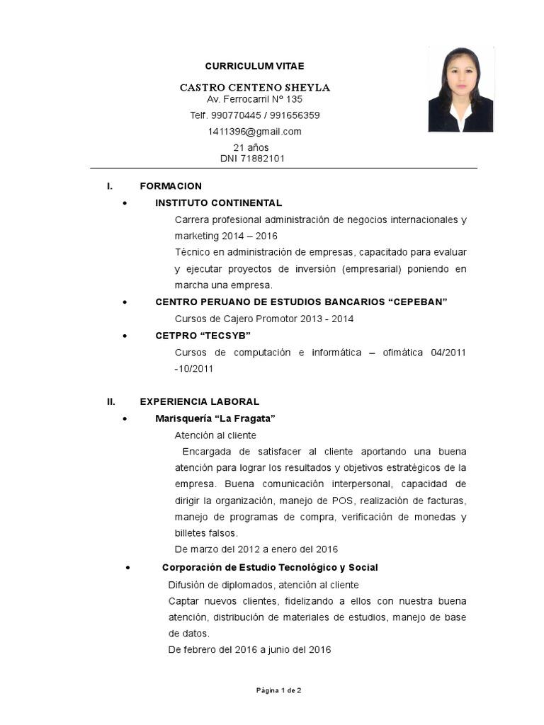Contemporáneo Currículums Bancarios Colección de Imágenes ...