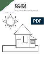 Colorir Desenho Pinte Formas Geométricas Casa - Desenhos Para Colorir