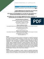 INFLUÊNCIA DE FATORES AMBIENTAIS NO PROCESSO DE EXTRAÇÃO DE SAL MARINHO EM SALINAS SOLARES DO BRASIL