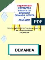 Segunda Clase Principios de Economia Para Formulacion de Proyectos UNMSM