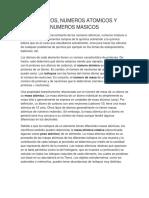 Isotopos Numeros Atomicos y Numeros Masicos