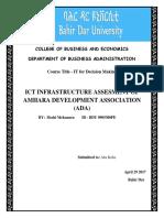 Ict Infrastructure Assesment of Amhara Development Association
