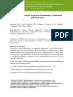 Poltica Nacional de Seguridad Alimentaria y Nutricional San 2011-2021