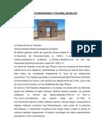 Historia Del Primer Periodo en Bolivia