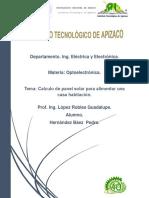 Calculo de Panel Solar Para Suministrar Electrodomesticos.
