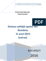 Sinteza Calitatii Apelor Din Romania in Anul 2015_EXTRAS