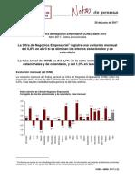 Índices de Cifra de Negocios Empresarial (ICNE). Base 2010  Abril 2017. Datos provisionales