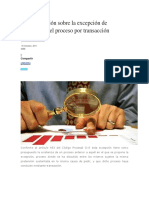 Breve Reflexión Sobre La Excepción de Conclusión Del Proceso Por Transacción