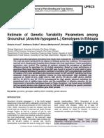 Estimate of Genetic Variability Parameters among Groundnut (Arachis hypogaea L.) Genotypes in Ethiopia
