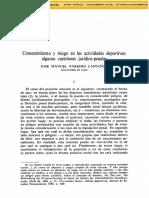 Consentimiento Actividades Deportivas. Antijuridicidad Lesiones Deportivas