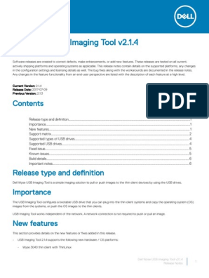 Dell_Wyse_USB_Imaging_Tool_v2 1 4_Release_Notes pdf | Usb