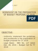 Budget Proposal Cy 2018