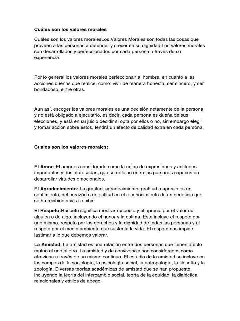 680dbf155c8a Cuáles Son Los Valores Morales | Amor | Comportamiento