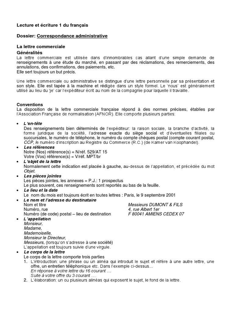 Administrative Et Commerciale La Correspondance Personelle