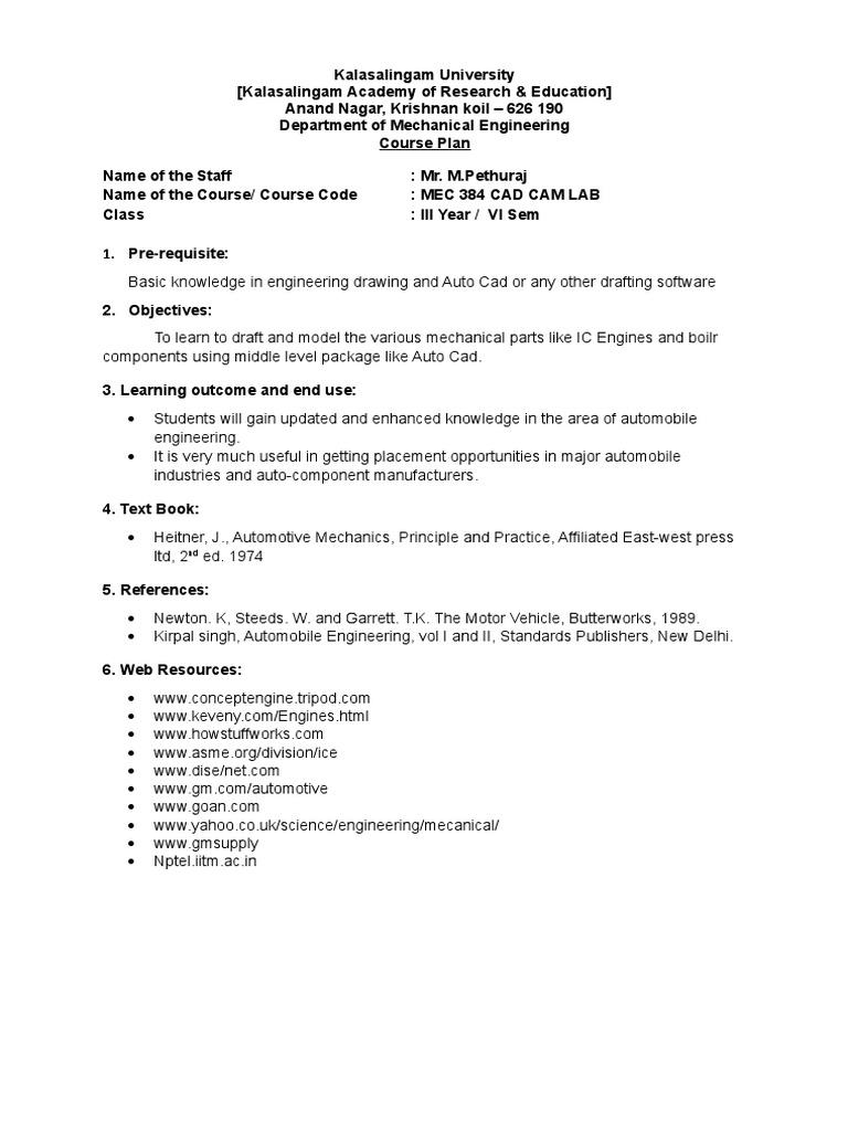 Course Plan   Engines   Transmission (Mechanics)