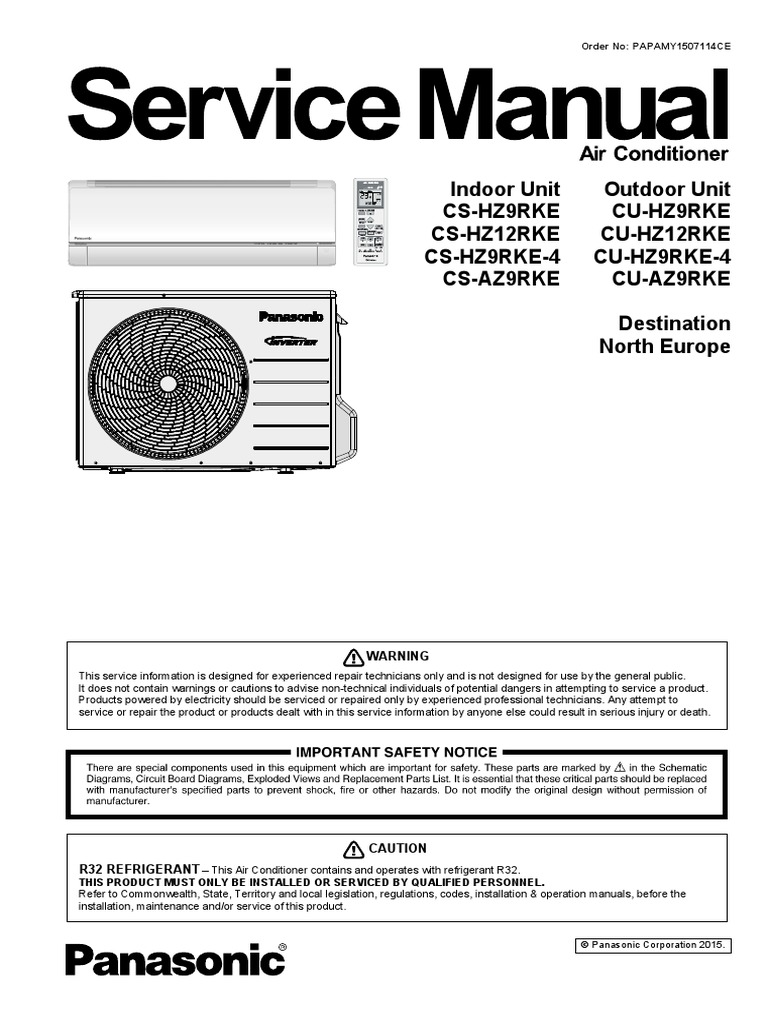 Panasonic cs hz9rke hz12rke sevice manual eng leak air conditioning cheapraybanclubmaster Images