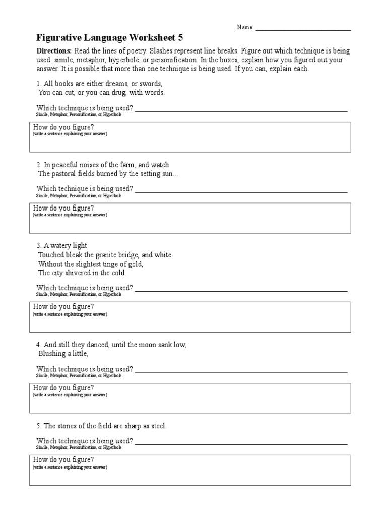 Figurative Language Worksheet 05 Metaphor – Figurative Language Worksheet