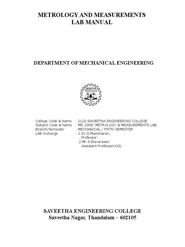 metrology lab manual torque rotation around a fixed axis rh es scribd com Mechanical Engineering Measurements mechanical measurement and instrumentation lab manual pdf