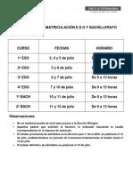 Calendario Matriculacion Julio 2017