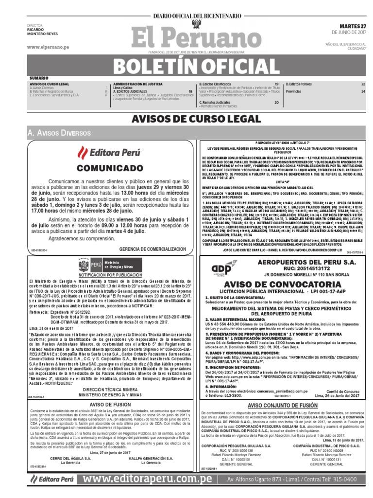 Diario Oficial El Peruano, Edición 9739. 27 de junio de 2017