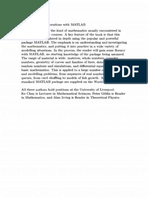 mathematical exploration with MATLAB   Matrix (Mathematics