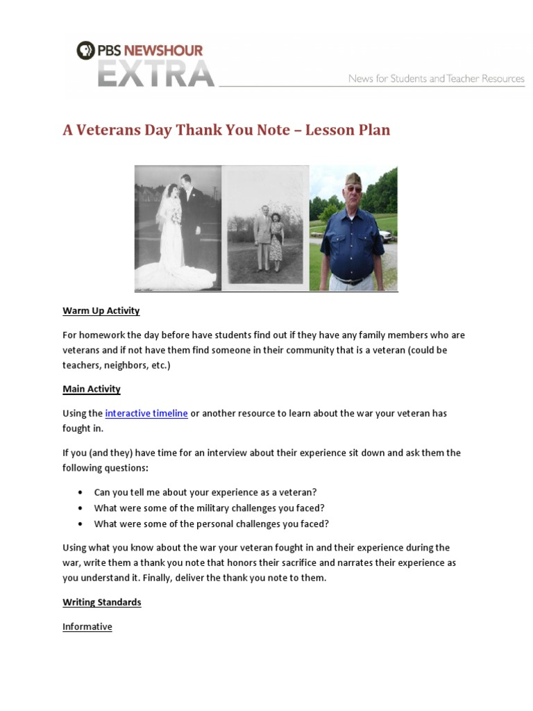a veterans day thank you note1pdf lesson plan educational psychology
