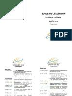 ECOLE DE LEADERSHIP - Programmation