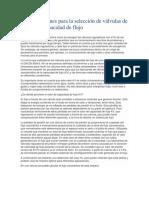 Consideraciones Para La Selección de Válvulas de Control - Capacidad de Flujo