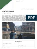 GTA 5 Cheats PC - Cheat Codes