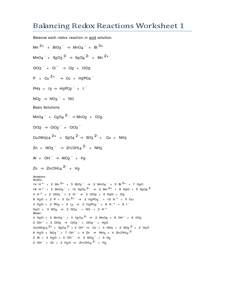 worksheet Acid Reactions Worksheet balancing redox reactions worksheets 1 2 with answers pdf