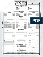Vampire the Masquerade - 20th Anniversary Edition Character Sheet