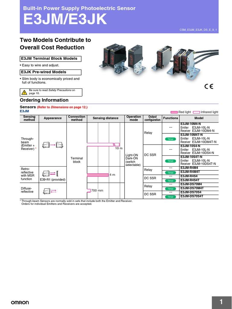 Datasheet Omron E3JM | Relay | SwitchScribd