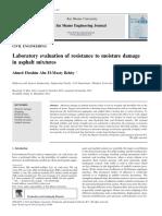 Laboratory Evaluation of Resistance to Moisture Damage in Asphalt Mixtures