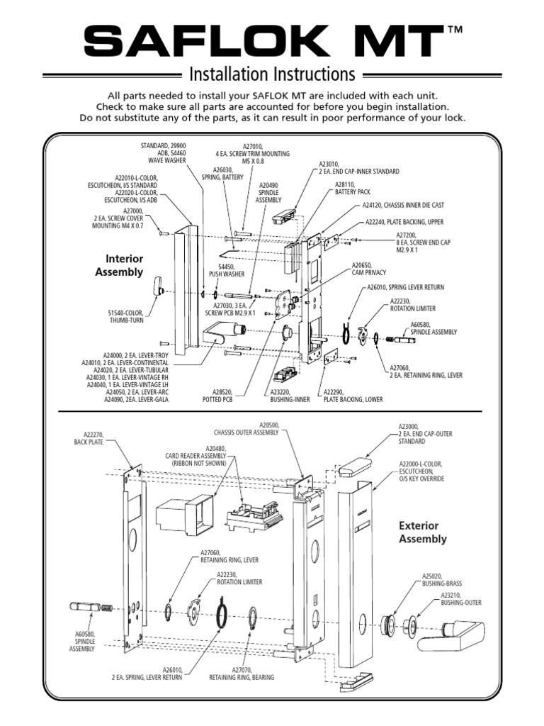 saflok mt installation instructions