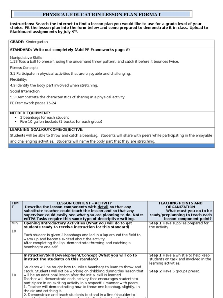 Pe Lesson Format Physical Education Lesson Plan - Lesson plan template for pe
