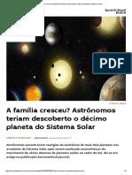A Família Cresceu_ Astrônomos Teriam Descoberto o Décimo Planeta Do Sistema Solar