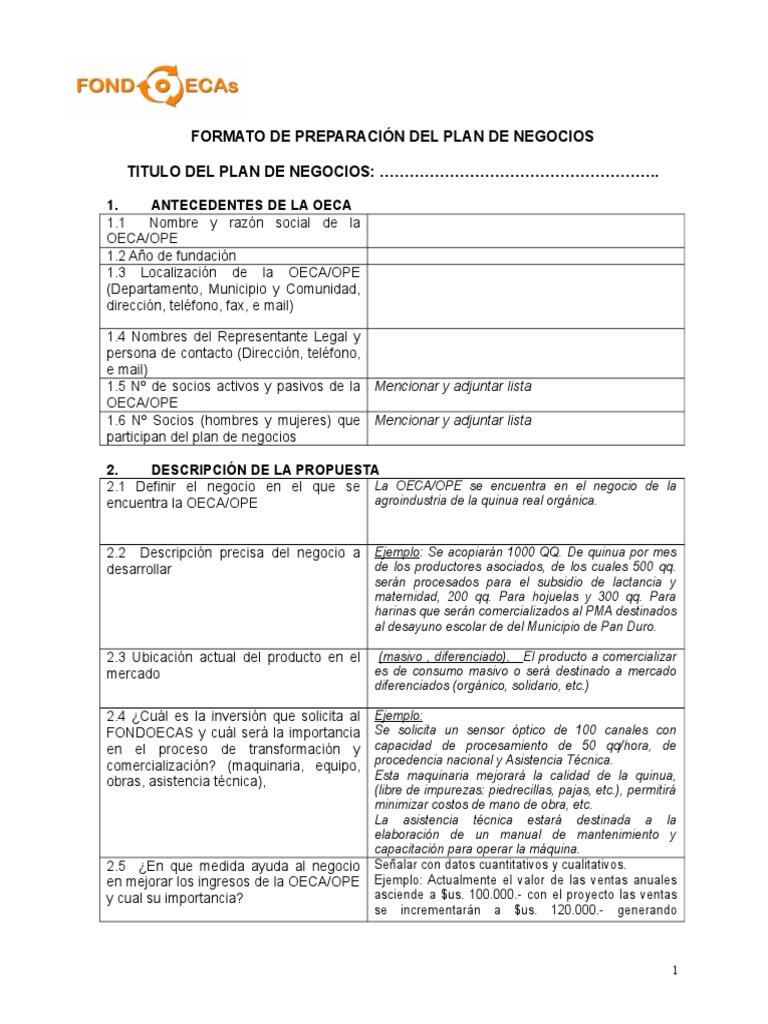 291 formato plan de negocio no 03 11 doc