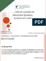 1. Calidad y Normalización - Gestión de Calidad en La Industria Química