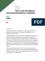Voto Distrital e Voto Facultativo Entulhos Autoritários e Elitistas