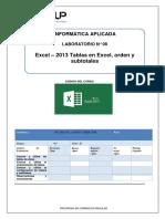 Lab 08-Excel-2013-Tablas en Excel, Orden y Subtotales