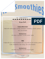 smoothie menu for event day
