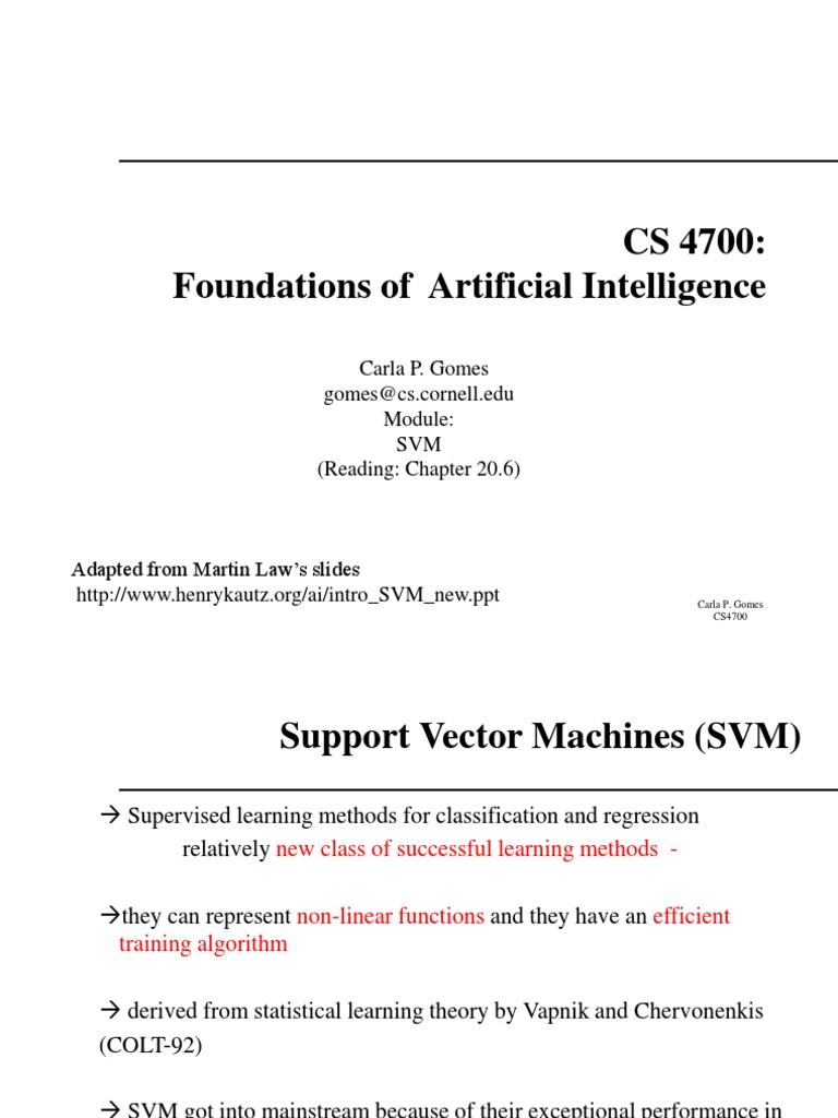 CS4700-SVM | Support Vector Machine | Computational Science