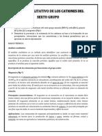 INFO N° 9 ANALISIS CUALITATIVO DE LOS CATIONES DEL SEXTO GRUPO