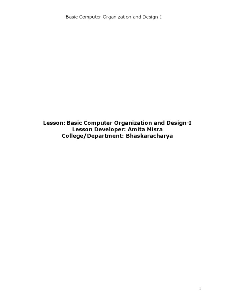 Basic Computer Organization And Design I Central Processing Unit Computer Program