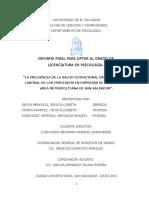 la influencia de la salud ocupacional en el desempeño laboral de los empleados en empresas de servicio del area metropolitana de San Salvador (1).doc