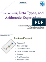 Lecture 2-Variables, Data Types and Arithmetic Expressions