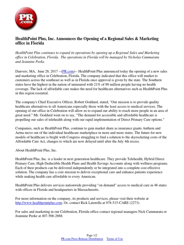 Healthcare marketplace florida - Healthpoint Plus Inc Announces The Opening Of A Regional Sales Marketing Office In Florida Primary Care Health Care