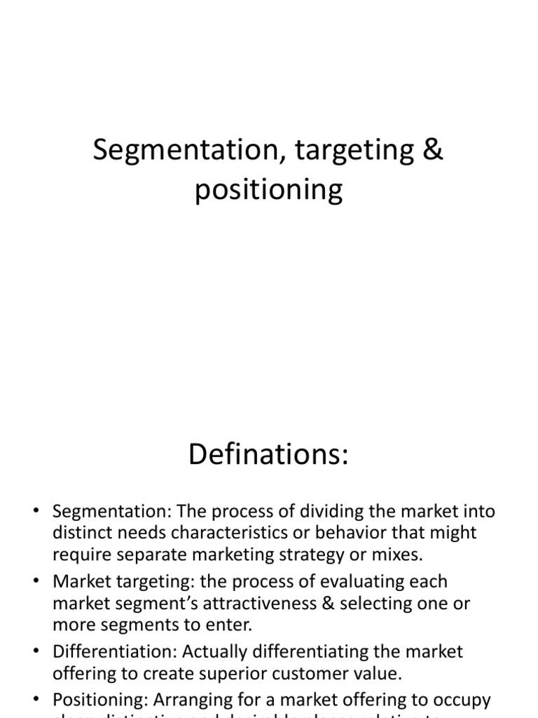 market segmentation target market selection and positioning