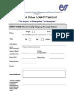ESSAY Entry Form Pre U 2017